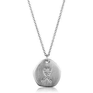 Brass & Rhodium Cancer Ribbon Necklace